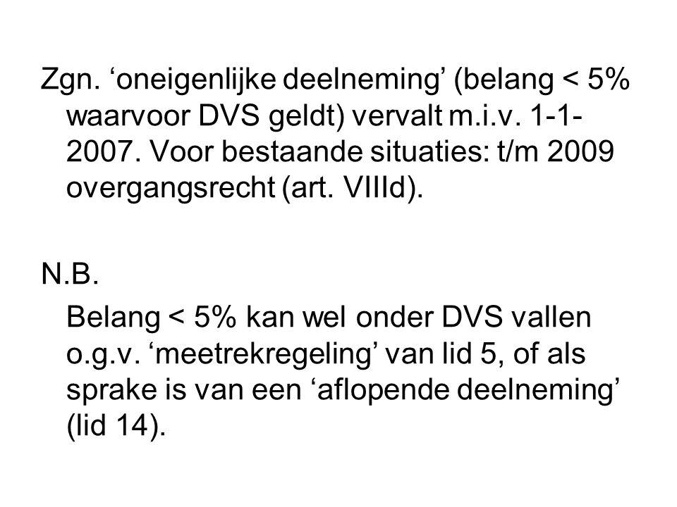 Zgn. 'oneigenlijke deelneming' (belang < 5% waarvoor DVS geldt) vervalt m.i.v. 1-1-2007. Voor bestaande situaties: t/m 2009 overgangsrecht (art. VIIId).
