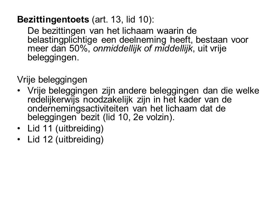 Bezittingentoets (art. 13, lid 10):