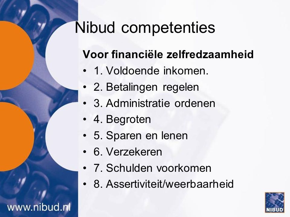 Nibud competenties Voor financiële zelfredzaamheid