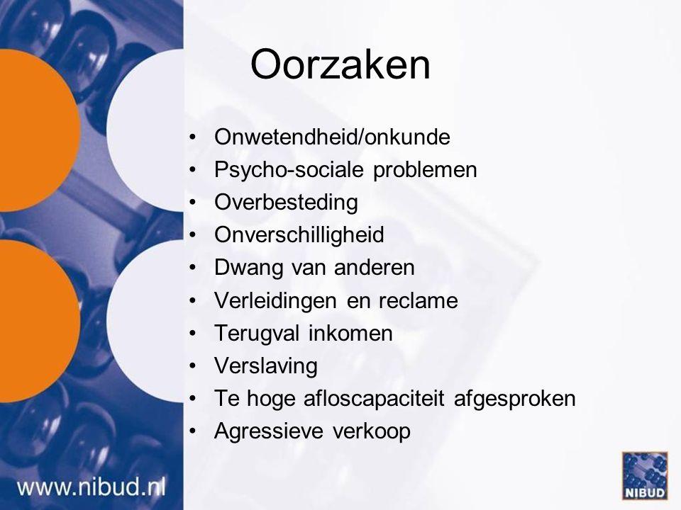 Oorzaken Onwetendheid/onkunde Psycho-sociale problemen Overbesteding