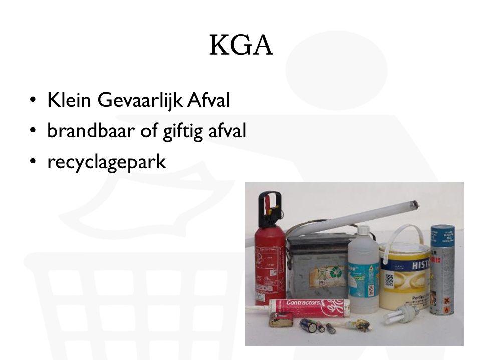 KGA Klein Gevaarlijk Afval brandbaar of giftig afval recyclagepark