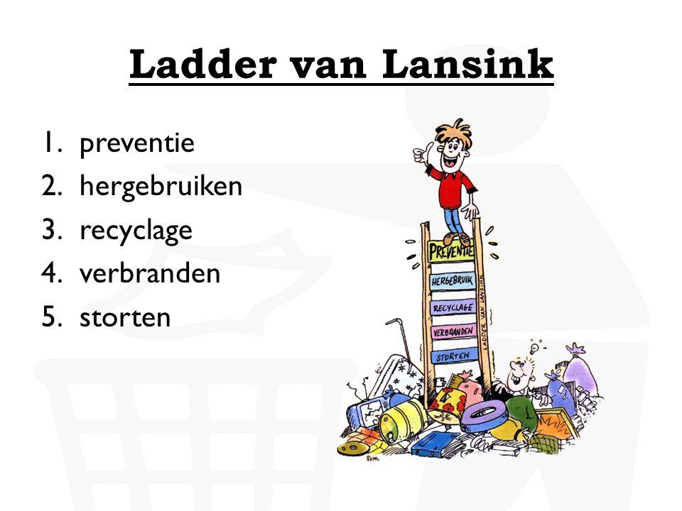 Ladder van Lansink preventie hergebruiken recyclage verbranden storten