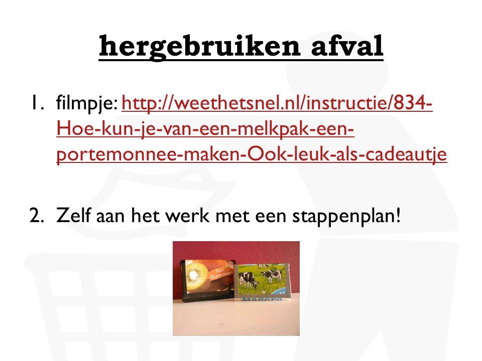 hergebruiken afval filmpje: http://weethetsnel.nl/instructie/834-Hoe-kun-je-van-een-melkpak-een-portemonnee-maken-Ook-leuk-als-cadeautje.