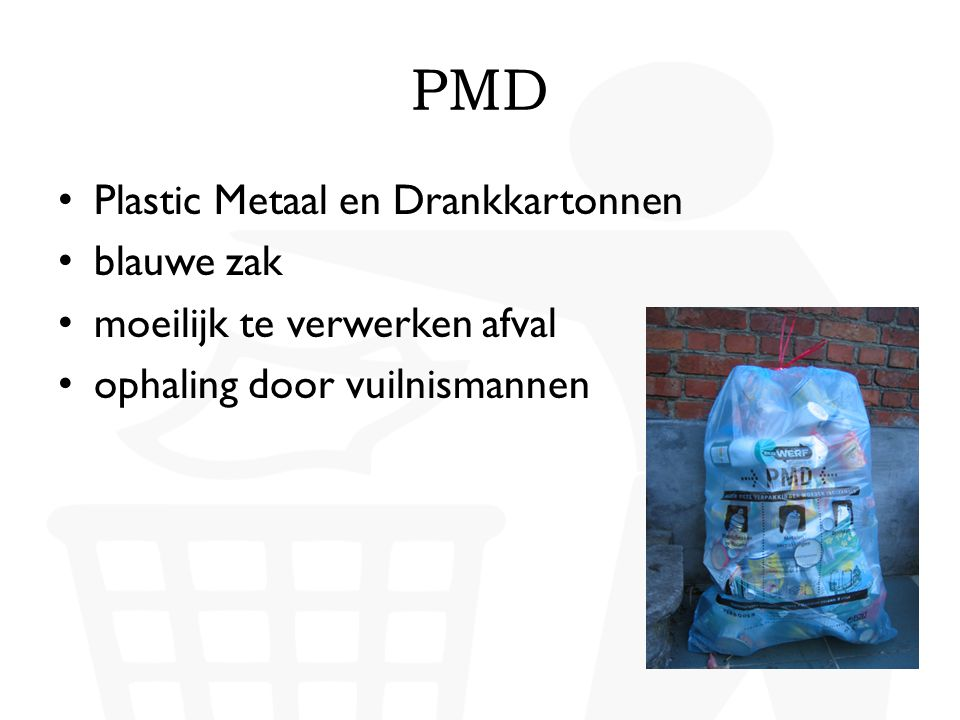 PMD Plastic Metaal en Drankkartonnen blauwe zak