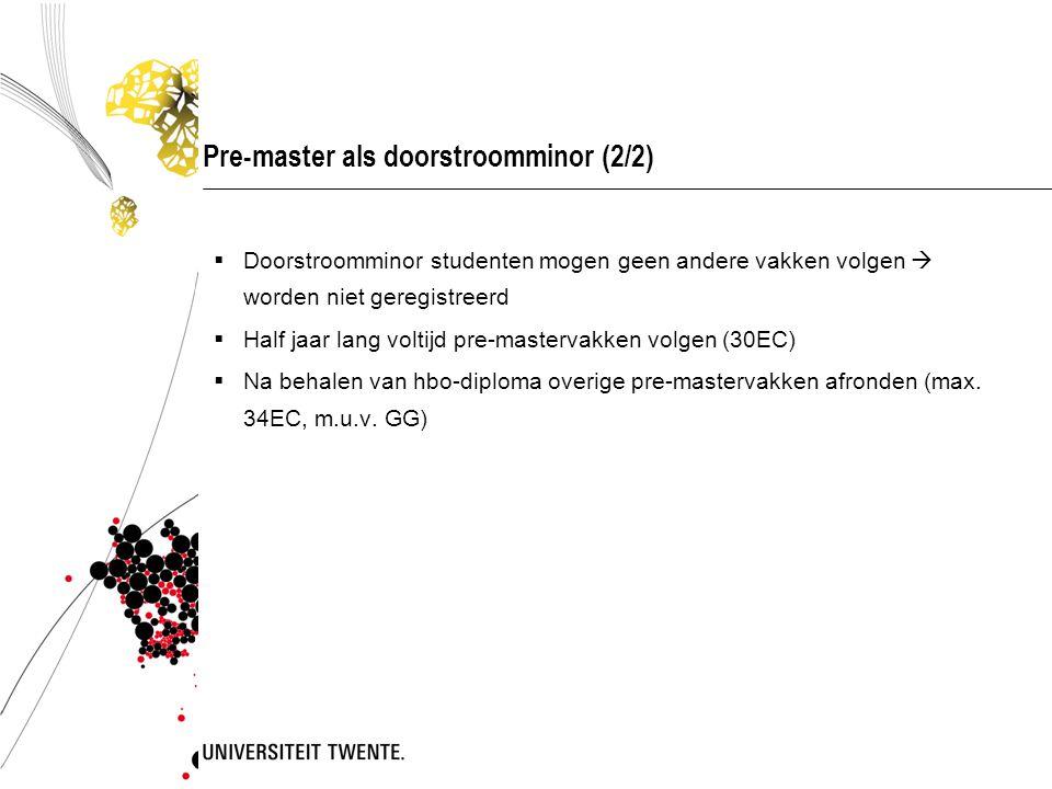 Pre-master als doorstroomminor (2/2)