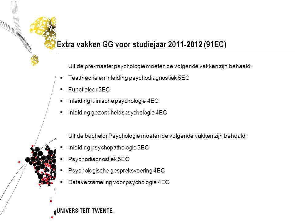 Extra vakken GG voor studiejaar 2011-2012 (91EC)