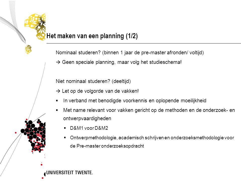 Het maken van een planning (1/2)