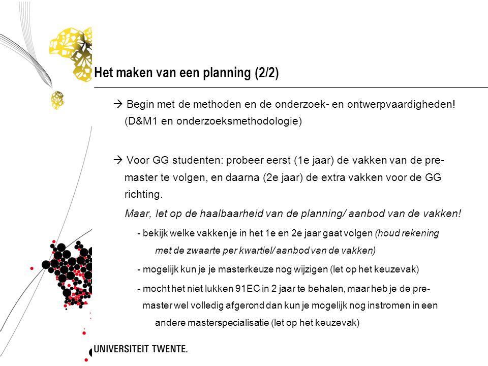 Het maken van een planning (2/2)