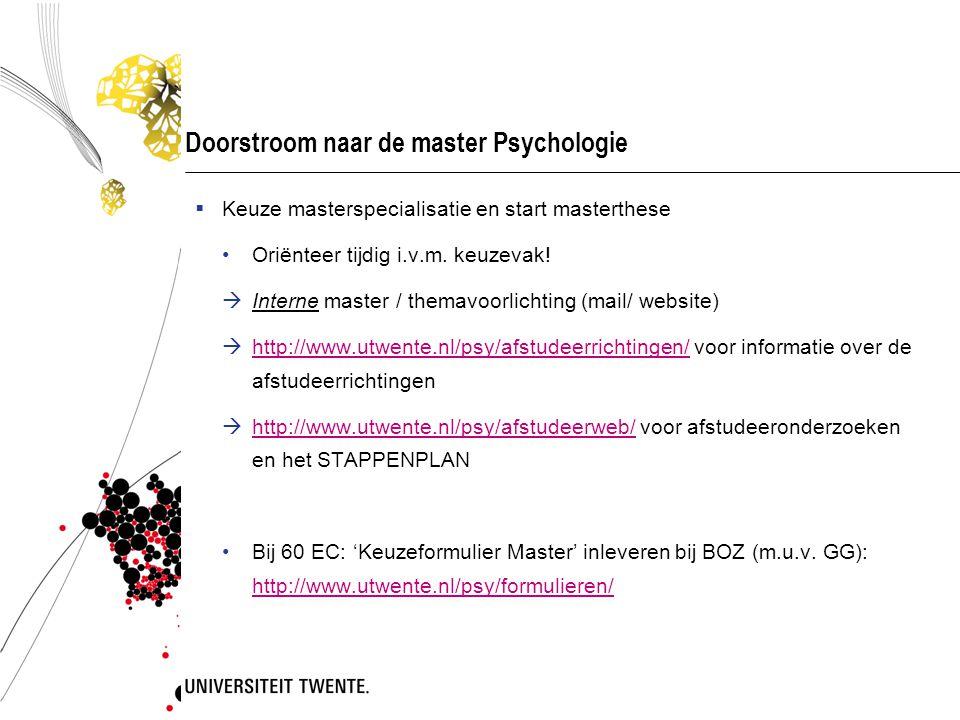 Doorstroom naar de master Psychologie