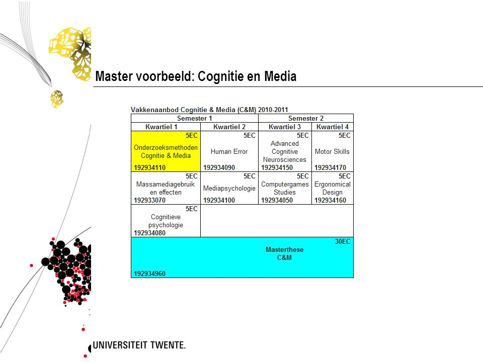 Master voorbeeld: Cognitie en Media