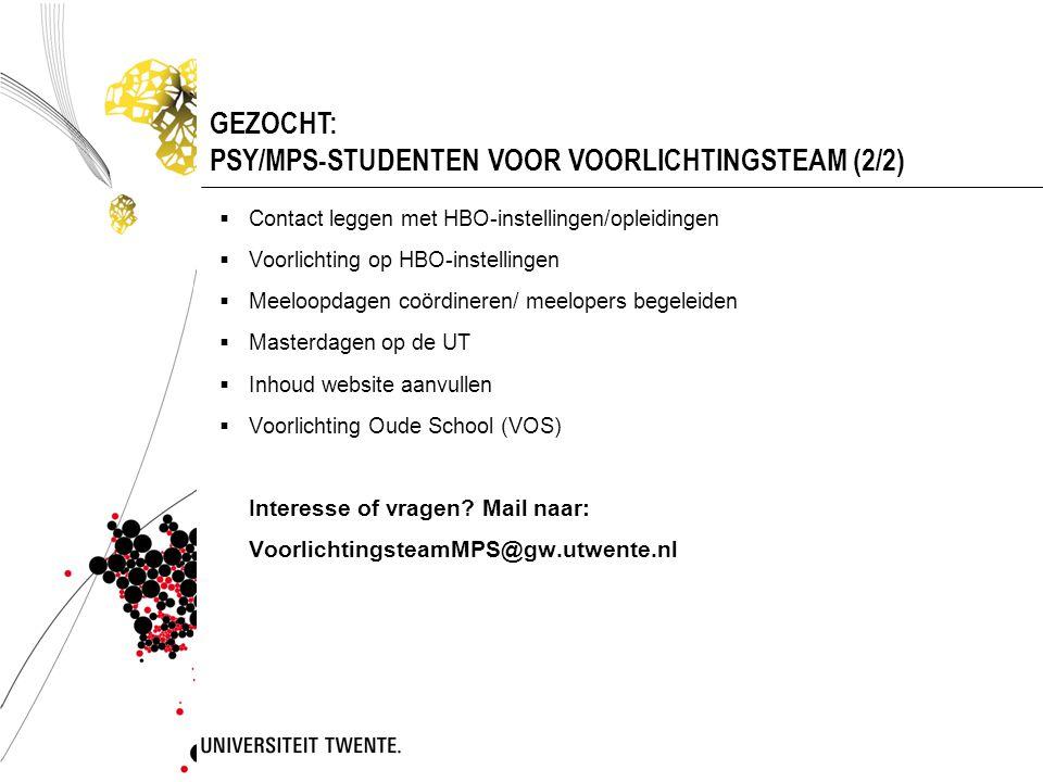 GEZOCHT: PSY/MPS-STUDENTEN VOOR VOORLICHTINGSTEAM (2/2)