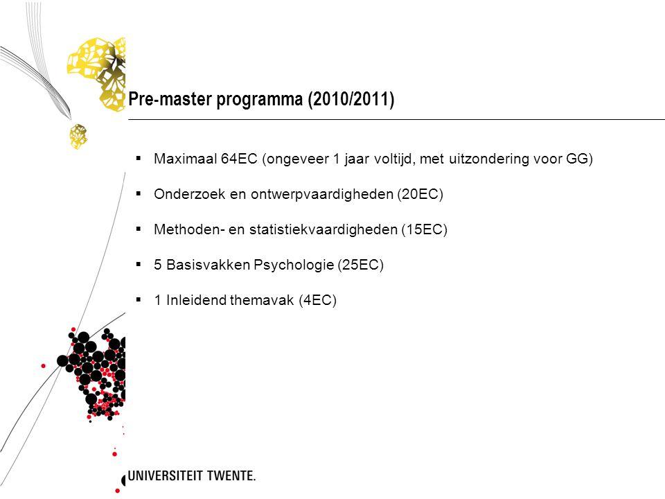 Pre-master programma (2010/2011)