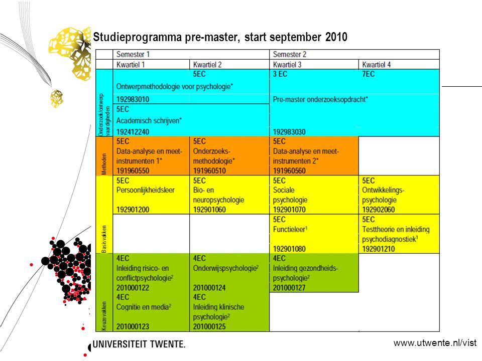 Studieprogramma pre-master, start september 2010