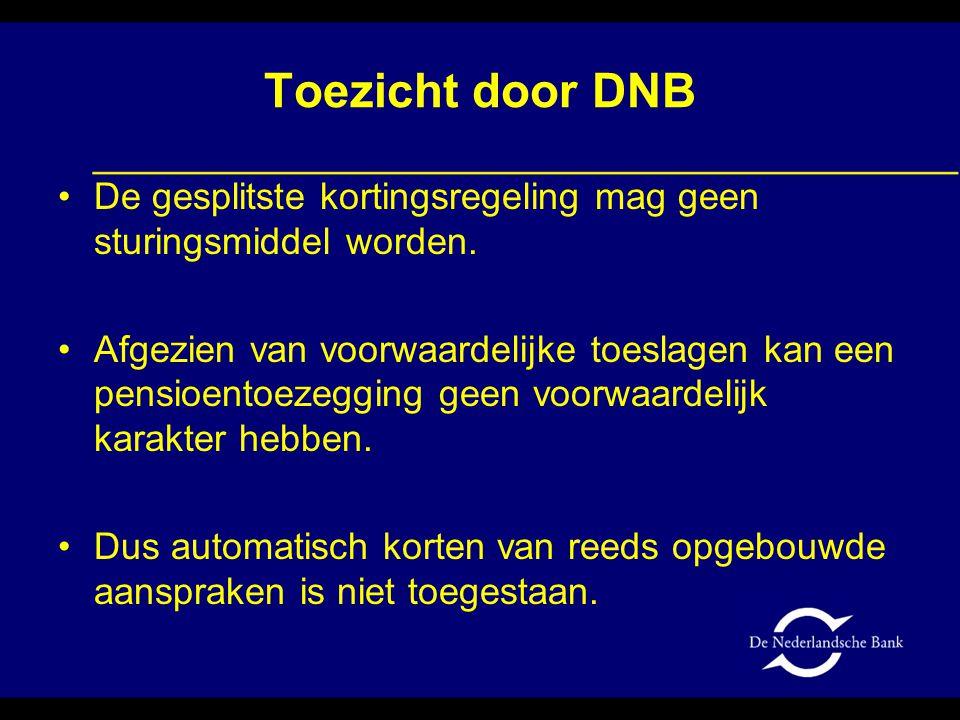 Toezicht door DNB De gesplitste kortingsregeling mag geen sturingsmiddel worden.