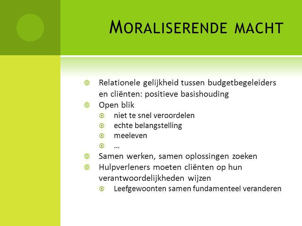Moraliserende macht Relationele gelijkheid tussen budgetbegeleiders en cliënten: positieve basishouding.