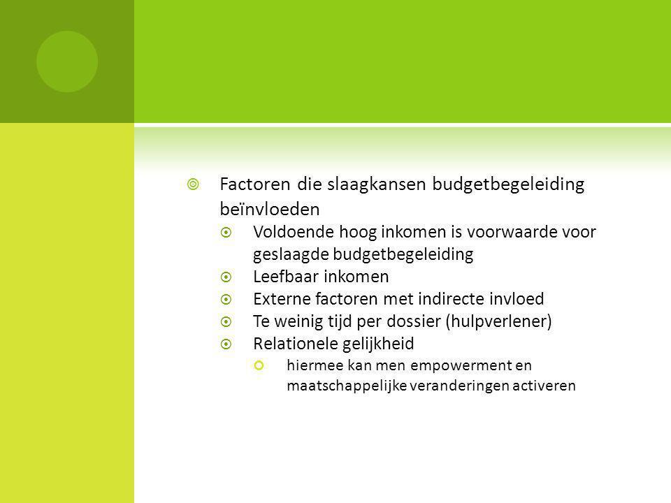 Factoren die slaagkansen budgetbegeleiding beïnvloeden