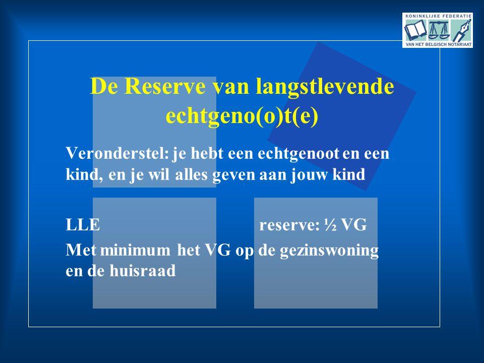 De Reserve van langstlevende echtgeno(o)t(e)