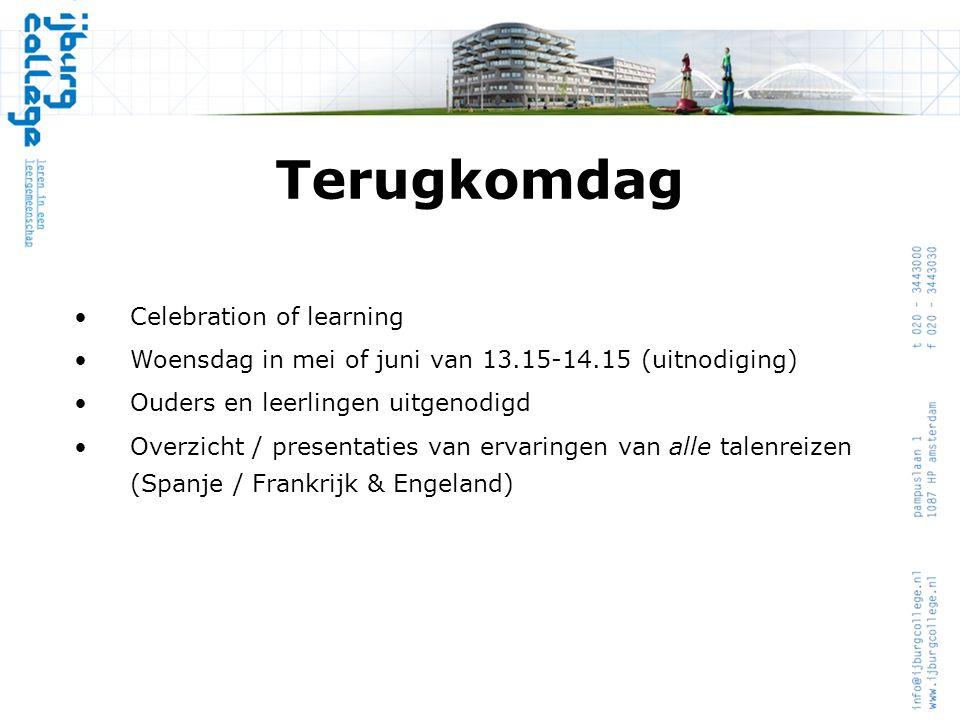 Terugkomdag Celebration of learning