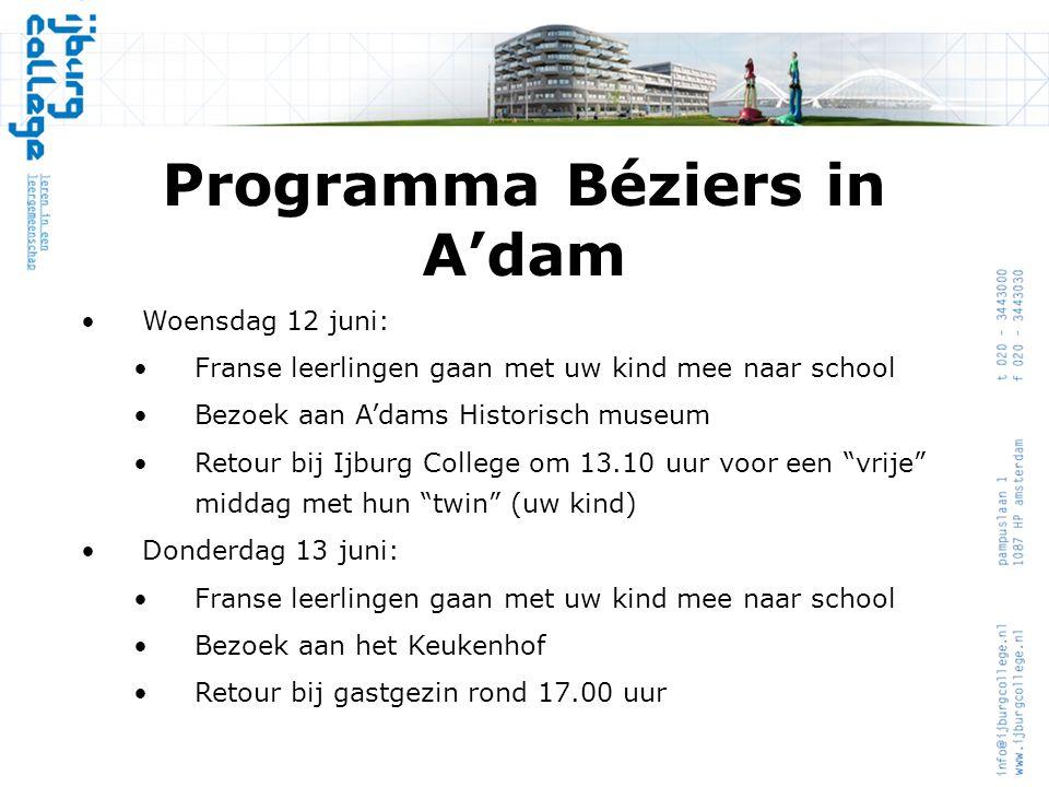 Programma Béziers in A'dam