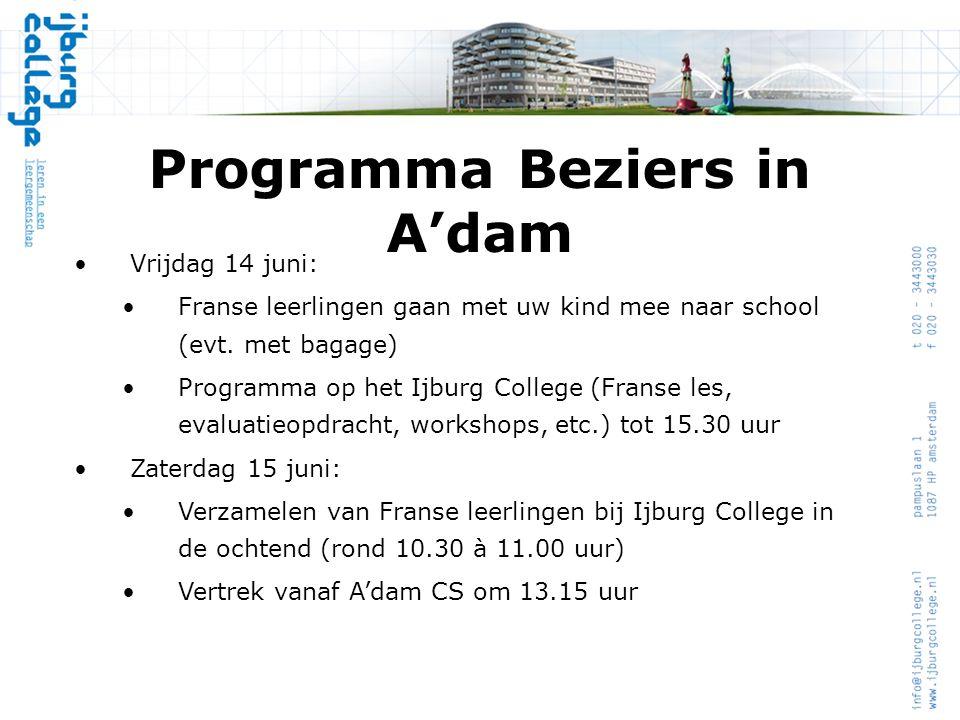 Programma Beziers in A'dam
