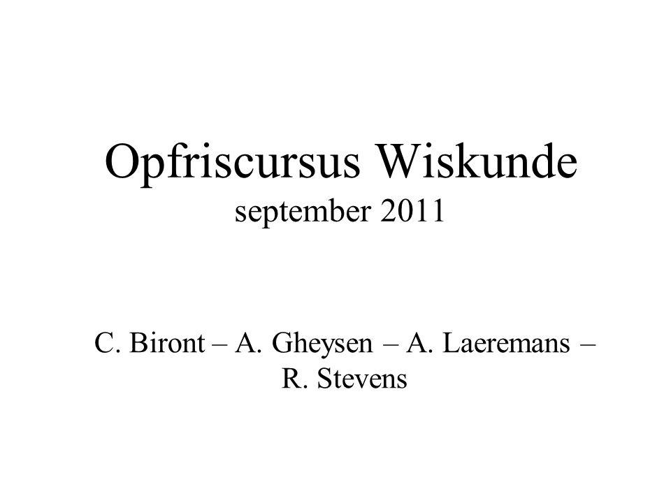 Opfriscursus Wiskunde september 2011
