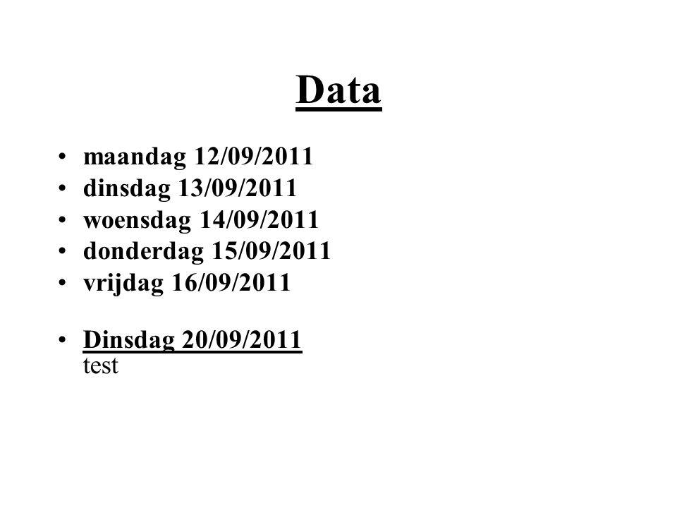 Data maandag 12/09/2011 dinsdag 13/09/2011 woensdag 14/09/2011