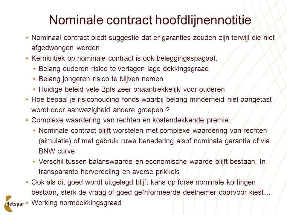 Nominale contract hoofdlijnennotitie