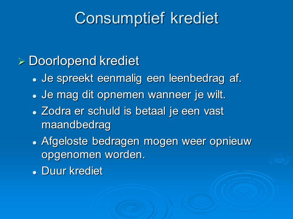 Consumptief krediet Doorlopend krediet