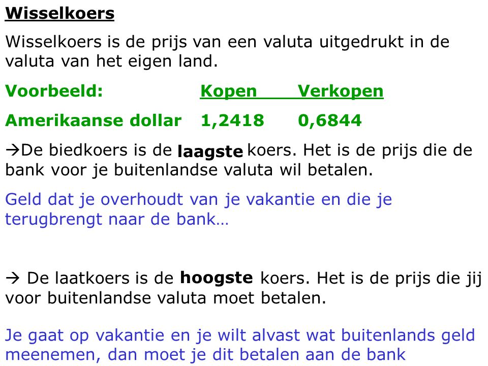 Wisselkoers Wisselkoers is de prijs van een valuta uitgedrukt in de valuta van het eigen land. Voorbeeld: Kopen Verkopen.