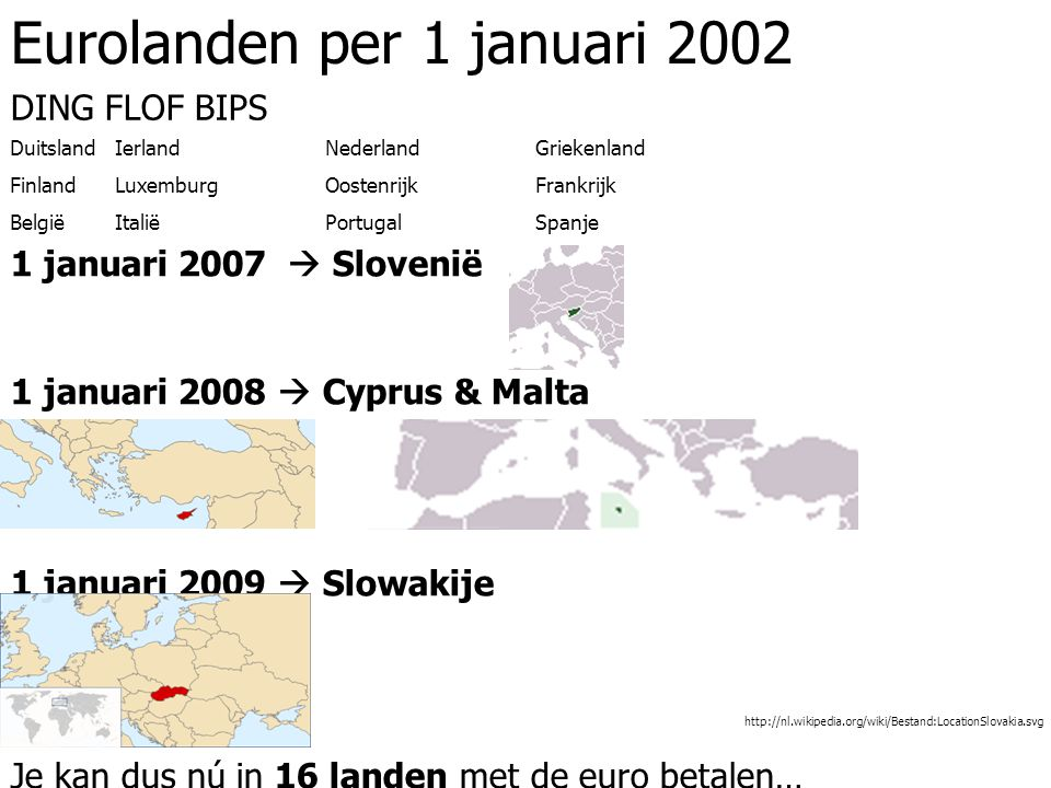 Eurolanden per 1 januari 2002