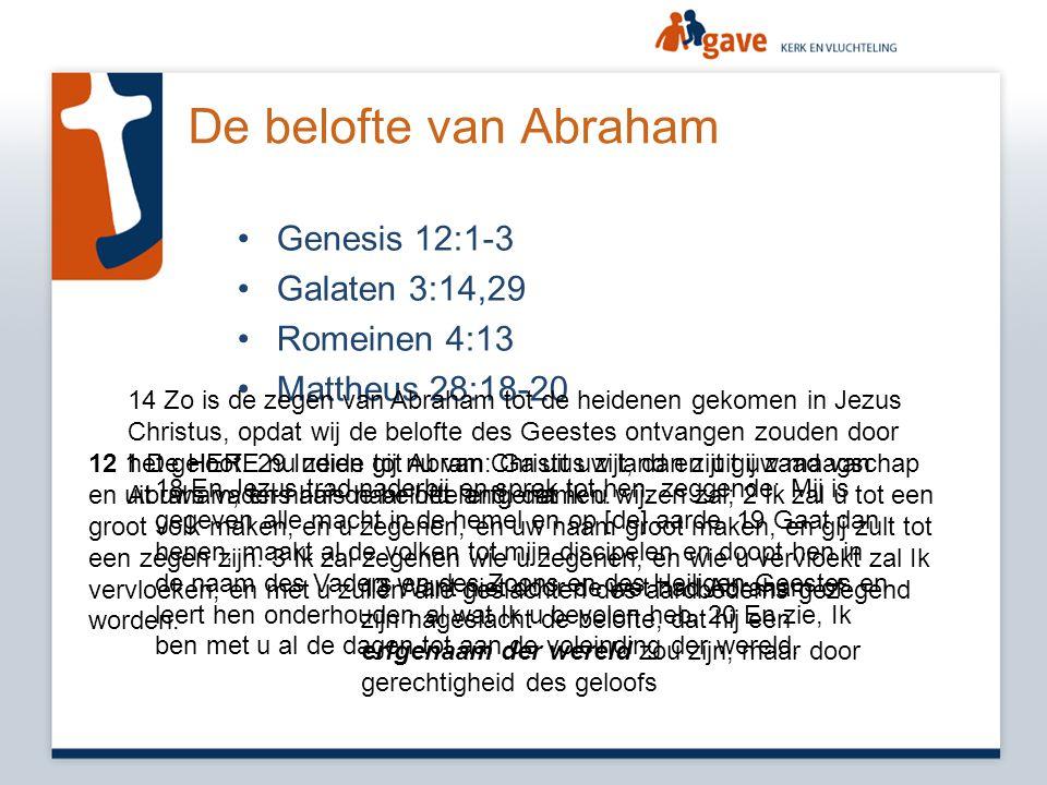 De belofte van Abraham Genesis 12:1-3 Galaten 3:14,29 Romeinen 4:13