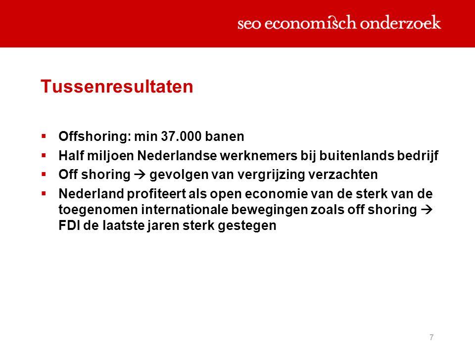 Tussenresultaten Offshoring: min 37.000 banen
