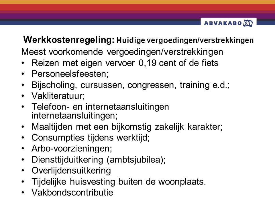 Werkkostenregeling: Huidige vergoedingen/verstrekkingen