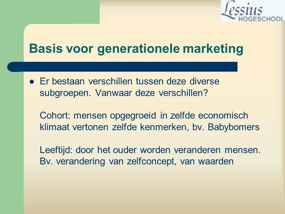 Basis voor generationele marketing