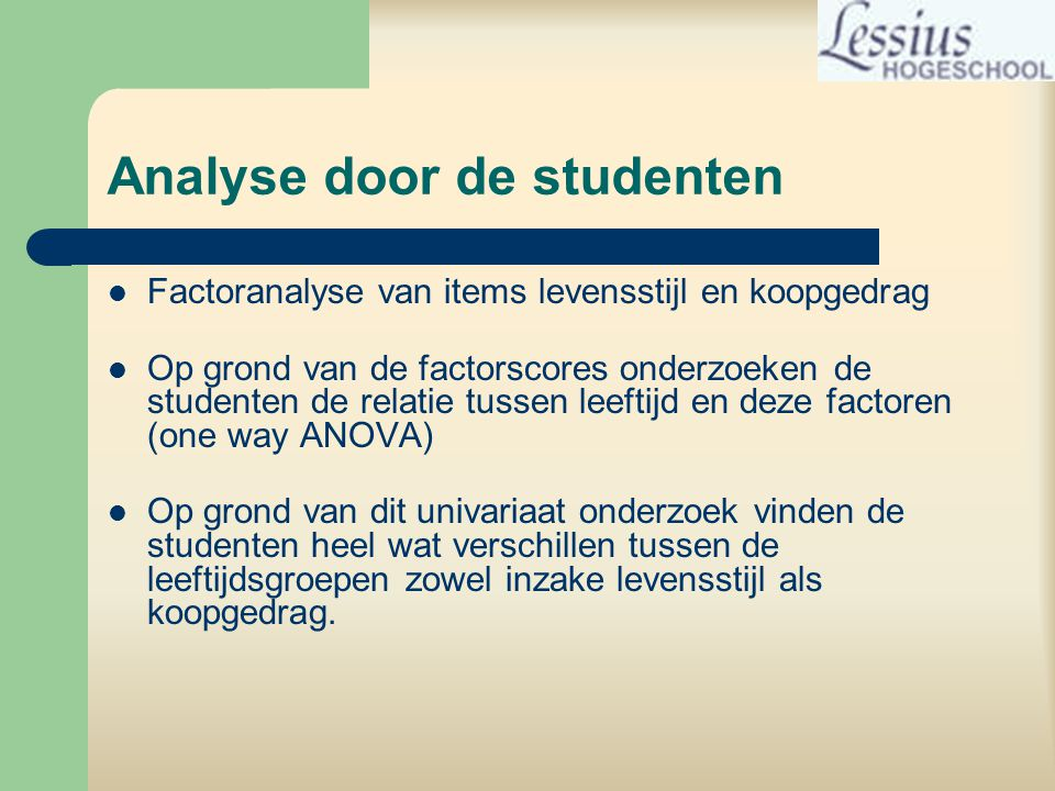 Analyse door de studenten
