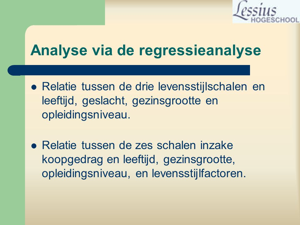 Analyse via de regressieanalyse