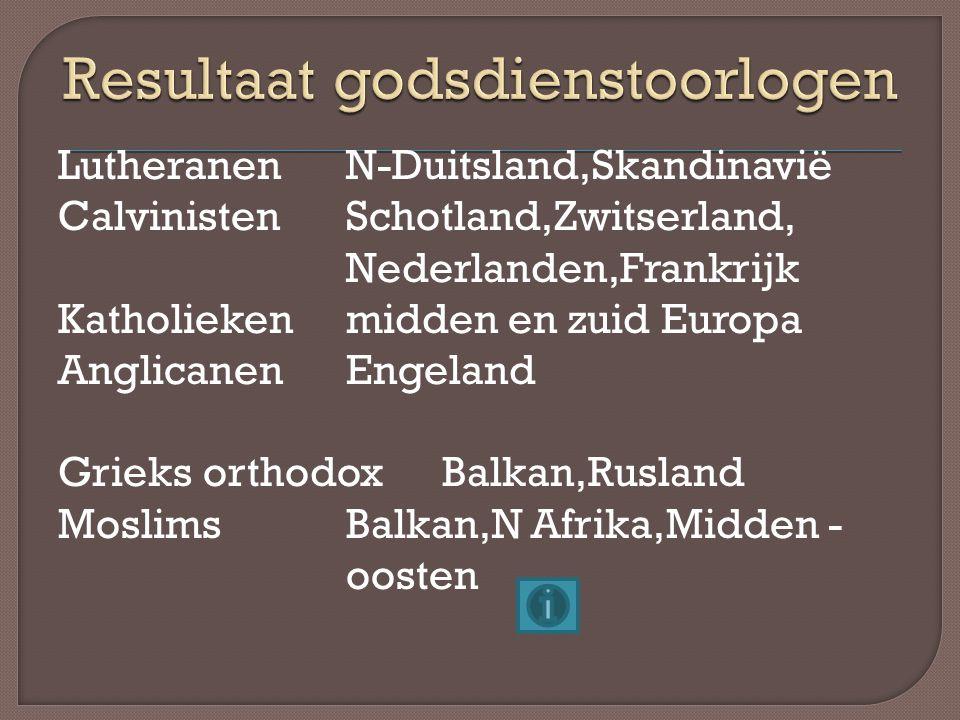 Resultaat godsdienstoorlogen