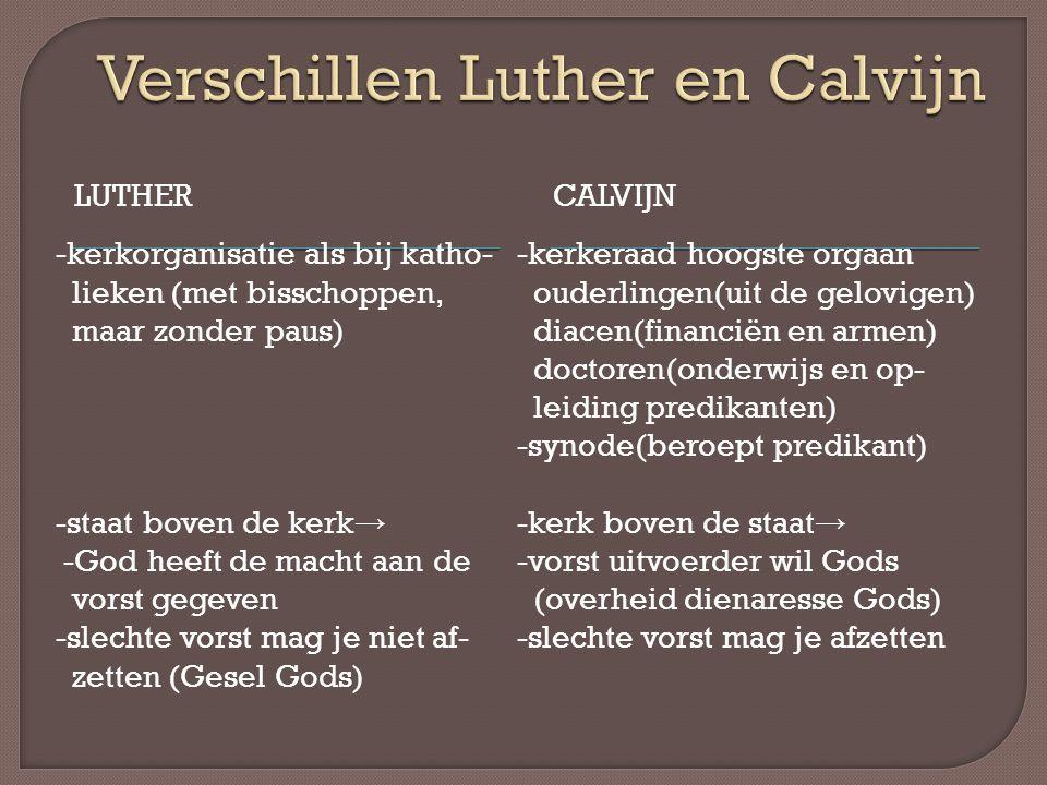 Verschillen Luther en Calvijn