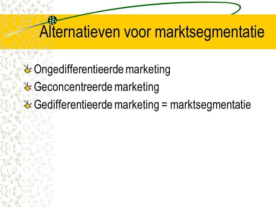 Alternatieven voor marktsegmentatie