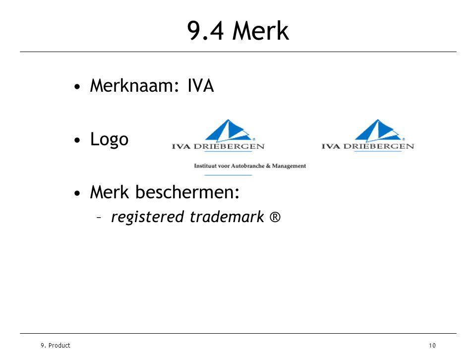 9.4 Merk Merknaam: IVA Logo Merk beschermen: registered trademark ®