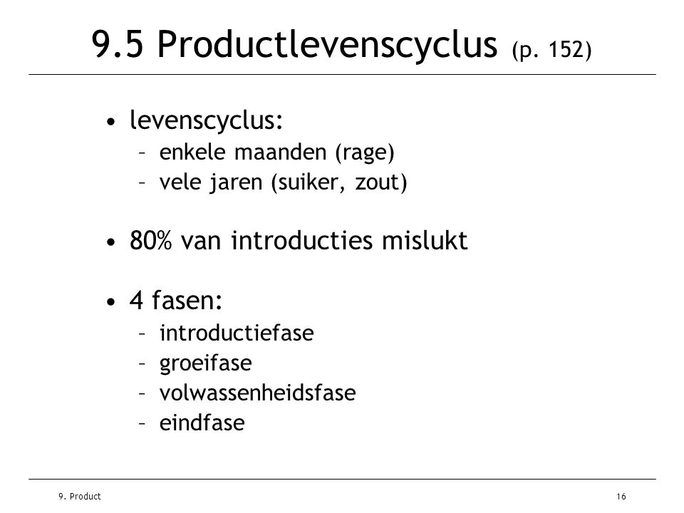 9.5 Productlevenscyclus (p. 152)