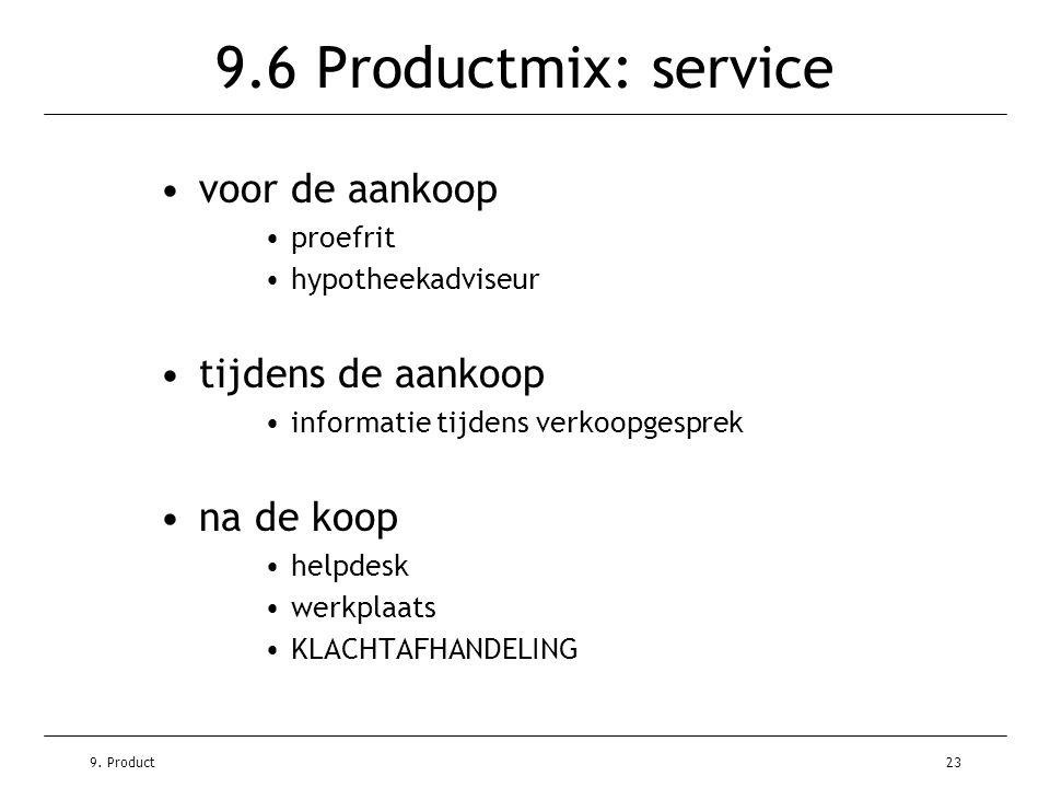 9.6 Productmix: service voor de aankoop tijdens de aankoop na de koop