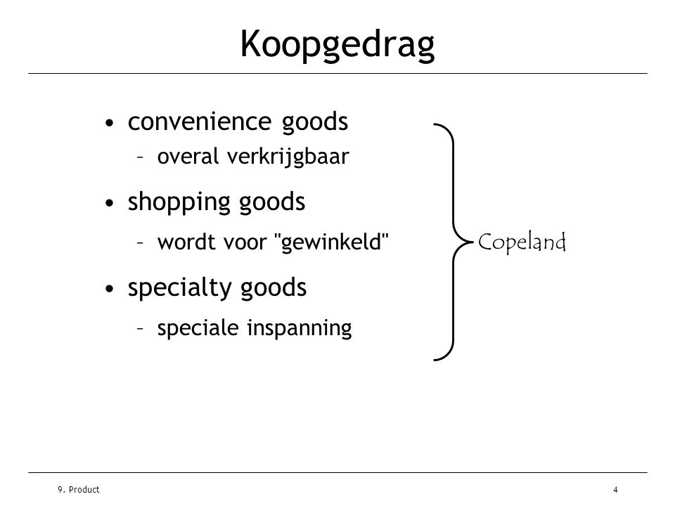 Koopgedrag convenience goods shopping goods specialty goods