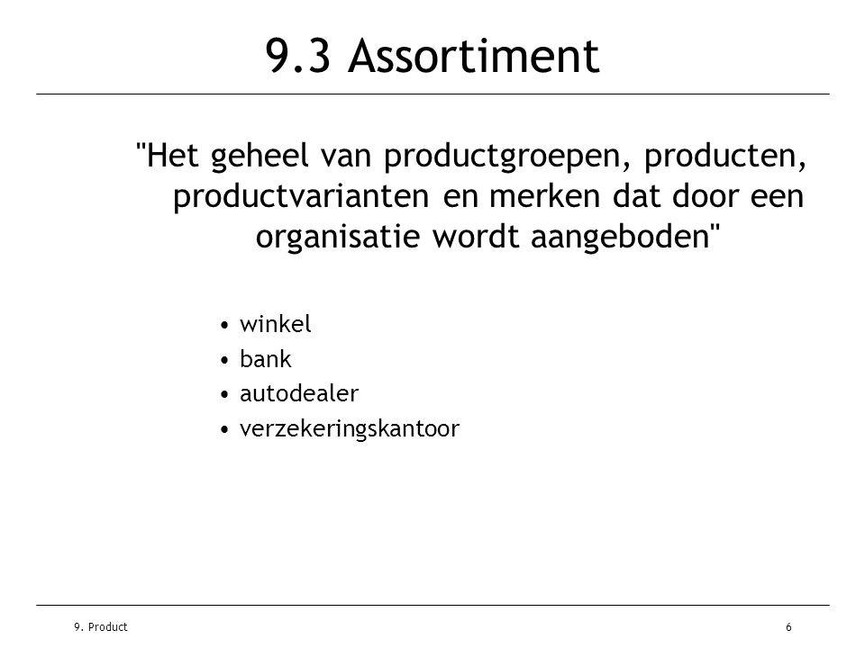 9.3 Assortiment Het geheel van productgroepen, producten, productvarianten en merken dat door een organisatie wordt aangeboden