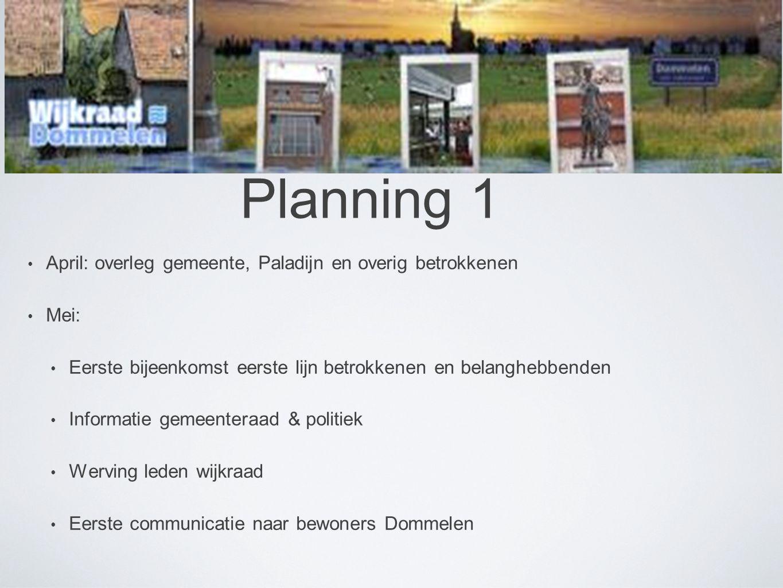 Planning 1 April: overleg gemeente, Paladijn en overig betrokkenen