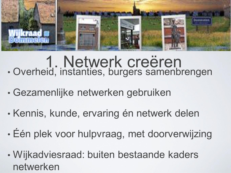 1. Netwerk creëren Overheid, instanties, burgers samenbrengen