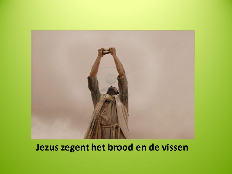 Jezus zegent het brood en de vissen