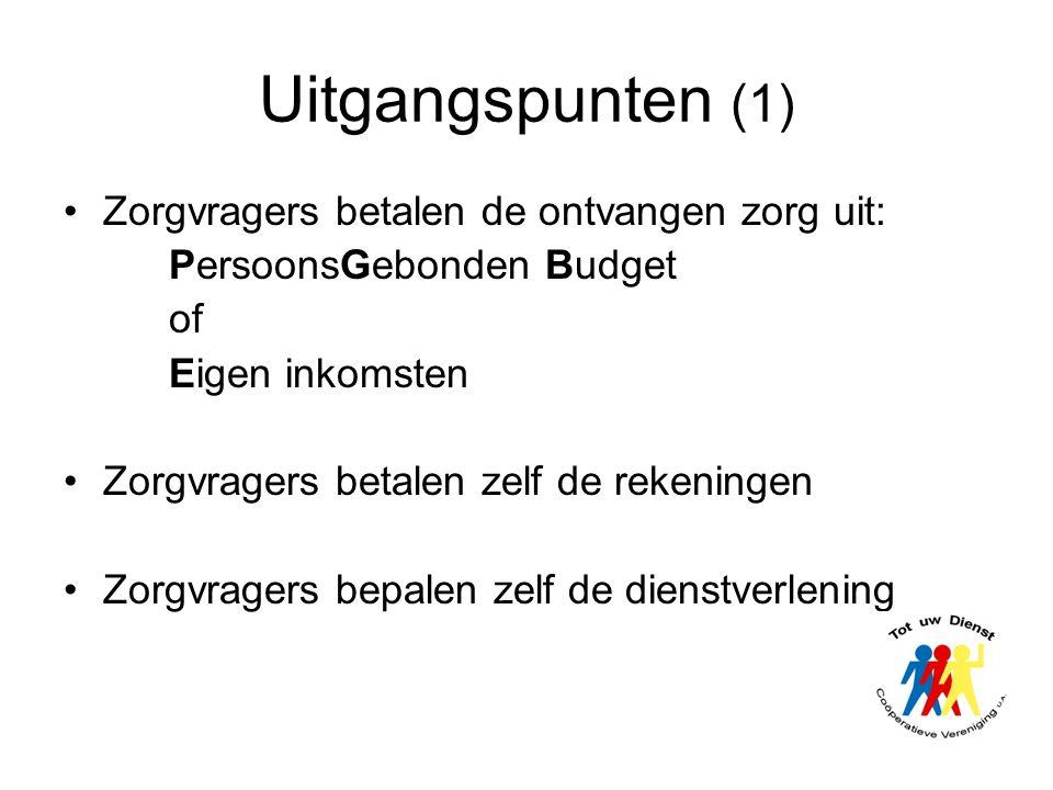 Uitgangspunten (1) Zorgvragers betalen de ontvangen zorg uit: