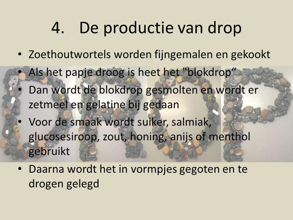 De productie van drop Zoethoutwortels worden fijngemalen en gekookt