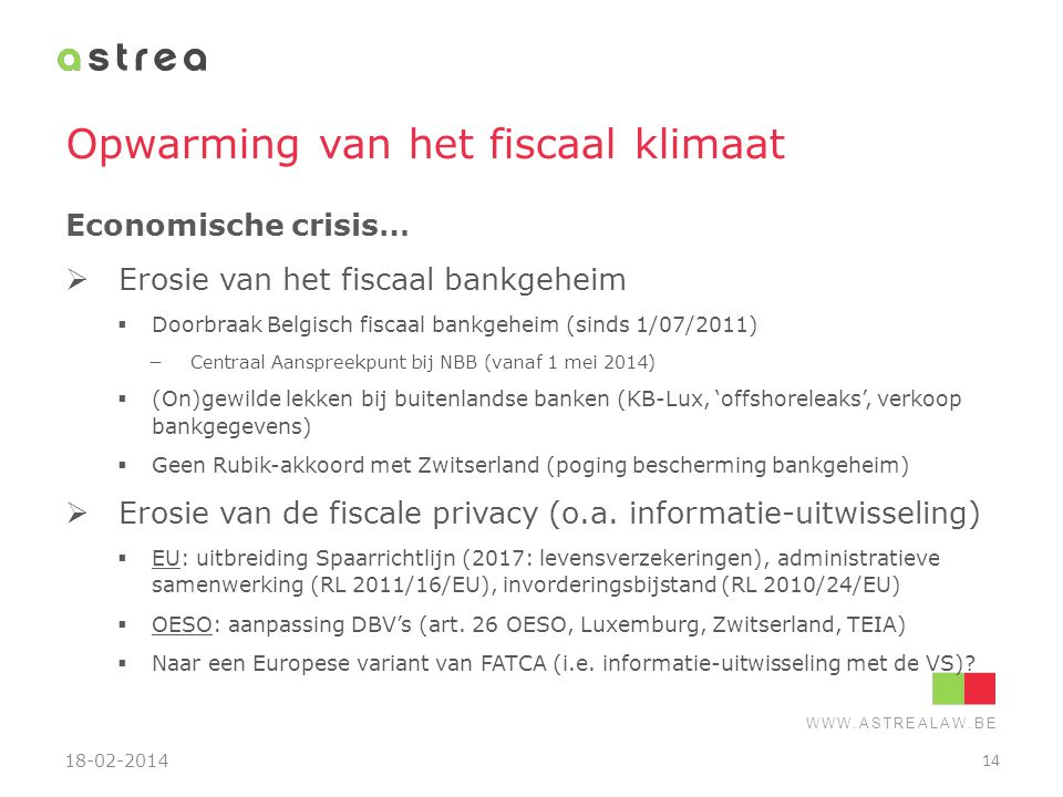 Opwarming van het fiscaal klimaat